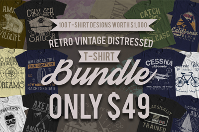 100 Retro Vintage T-Shirt Designs