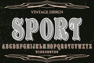 vintage alphabet Typeface handcrafted vector label design sport