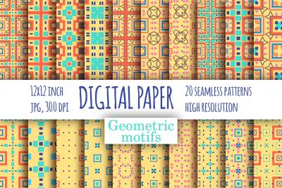 Geometric motifs digital paper pack