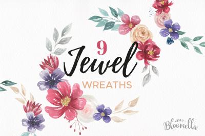 Jewel Watercolor Flower Wreath Navy Burgundy Rich Garlands
