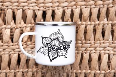 Enamel cup mockup metal camp mug travel hiking camping mock up psd