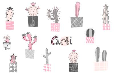 Potted cactus clipart, Cute cacti clip art, Doodle succulent clipart