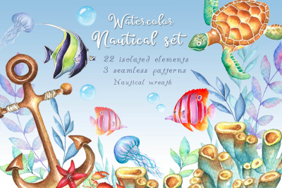 Watercolor nautical set