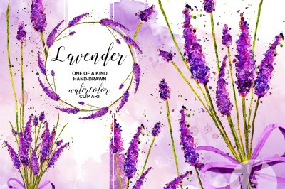 Lavender Watercolor ClipArt Collection Printable Purple Flowers Purple