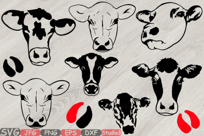 Heifer Cows Head Silhouette SVG western cow Farm Milk 796S