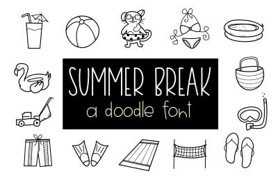 Summer Doodle Font - Summer / Beach Doodles