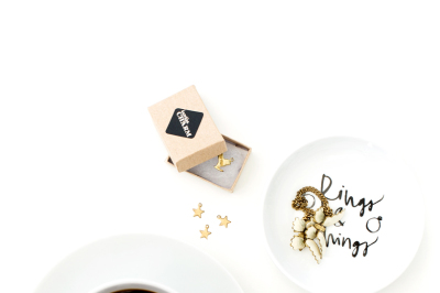 Styled stock image/ gold and white /flatlay