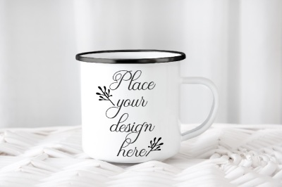 Camping mug enamel metal cup mock up camp mockup black rim ring psd