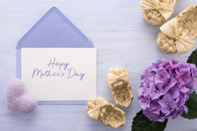Happy Mother's Day greeting card with booties, heart, flower
