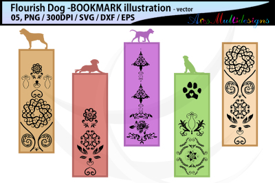 dog flourish bookmark clipart illustration / dog flourish bookmark