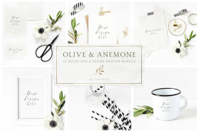 Olive & anemone stock photos and mock-ups bundle