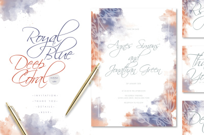 Royal Blue Deep Coral Wedding Invitation Suite