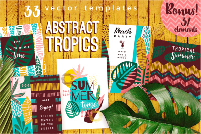 Abstract tropics. 33 vector templates