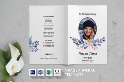 Watercolor Flower Funeral Brochure-V10