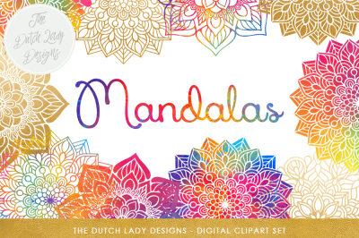 Mandala Clipart Set Rainbow & Gold
