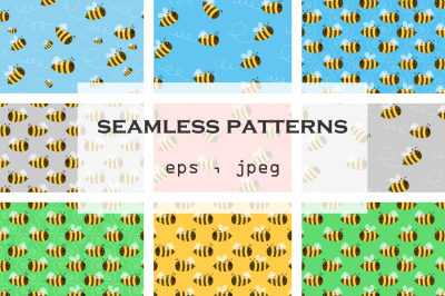 Funny bees - seamless patterns . Colorful design for kids