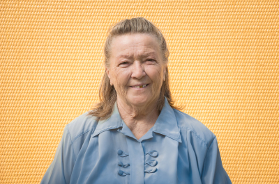 portrait of old elegant grandmother. caucasian friendly granny smiling