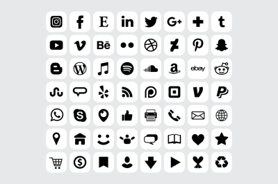 Rounded Square White Social Icons