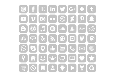 Rounded Square Gray Social Icons