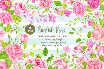 English rose clipart, watercolor pink rose