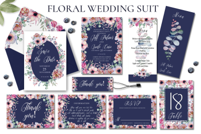 Floral Wedding Invitation Suit