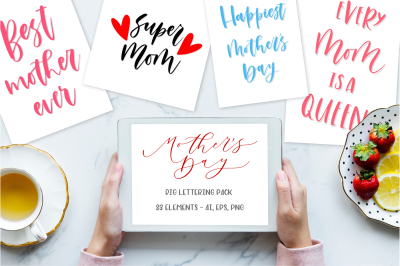 Mother's day lettering pack