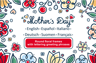 Greeting cards for Mother's Day in different languages.