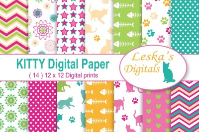 Kitty Cat Digital Scrapbook Paper