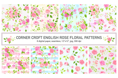 Watercolor English Rose Patterns