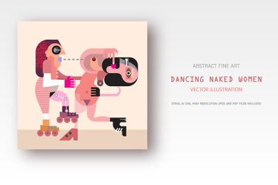 Two Dancing Naked Women vector illustration