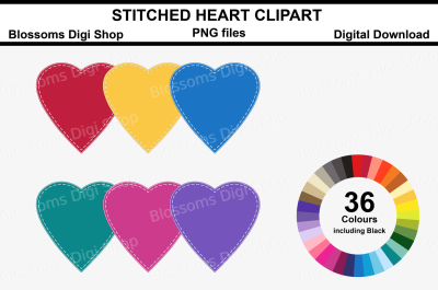 Stitched Heart Clipart, 36 multi colours PNG files