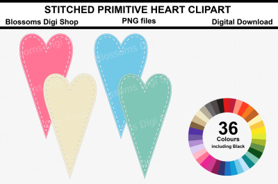 Stitched Primitive Heart Clipart, 36 multi colours PNG files