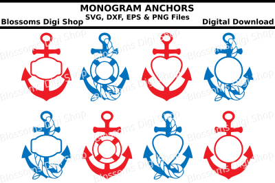 Monogram Anchors, SVG, DXF, EPS and PNG cut files