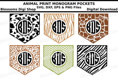 Animal Print Monogram Pockets SVG, DXF, EPS and PNG files