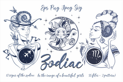 Zodiac. Beautiful girls in the zodiac signs. Digital clipart.