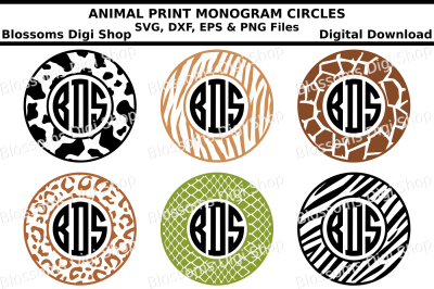 Animal Print Monogram Circles SVG, DXF, EPS and PNG files