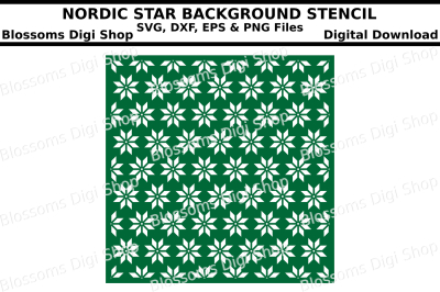 Nordic Star Background Stencil SVG, DXF, EPS and PNG files