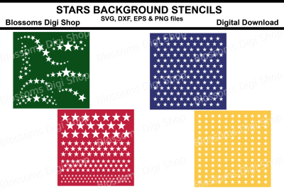 Stars Background Stencils SVG, DXF, EPS and PNG files