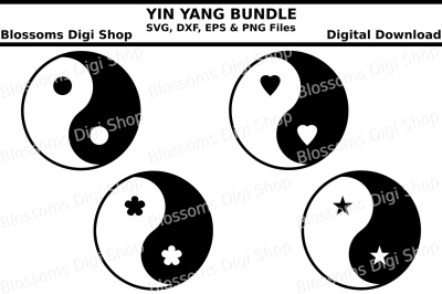 Yin Yang Bundle cut files, SVG, DXF, EPS & PNG files