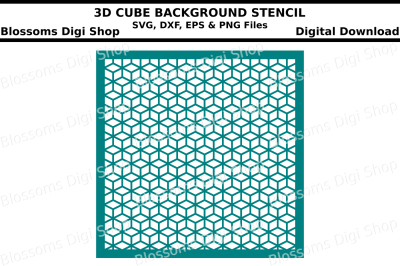 3D Cube Background Stencil SVG, DXF, EPS and PNG files
