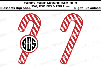 Candy Cane Monogram Duo SVG, EPS, DXF and PNG cut files
