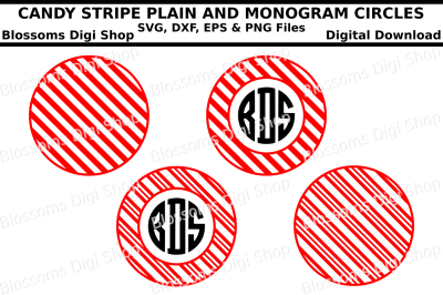 Candy Stripe Monogram Circles SVG, DXF, EPS and PNG files