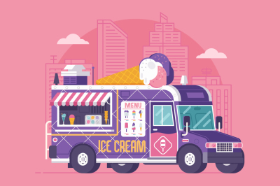 Street Ice Cream Truck Illustration