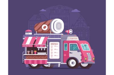 Street Coffee Van on City Background