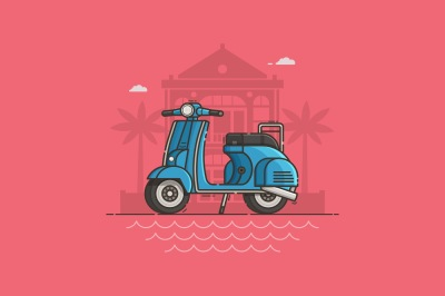 Blue Scooter on Villa Summer Background