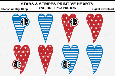 Stars & Stripes Primitive Hearts, SVG, DXF, EPS and PNG files