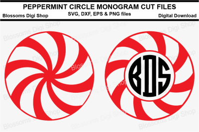 Peppermint Circle Monogram Duo SVG, DXF, EPS and PNG files