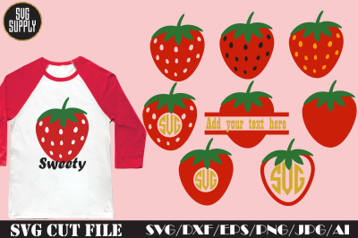 Strawberry SVG * Strawberry Monogram Cut File