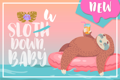 Sweet illustrations with sloths
