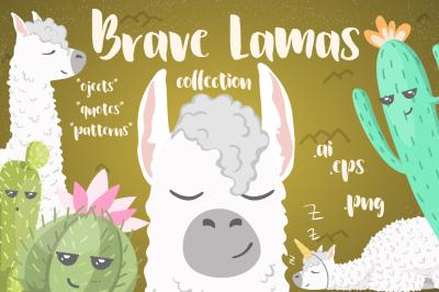 Brave Lamas & Cactuses Vector Set